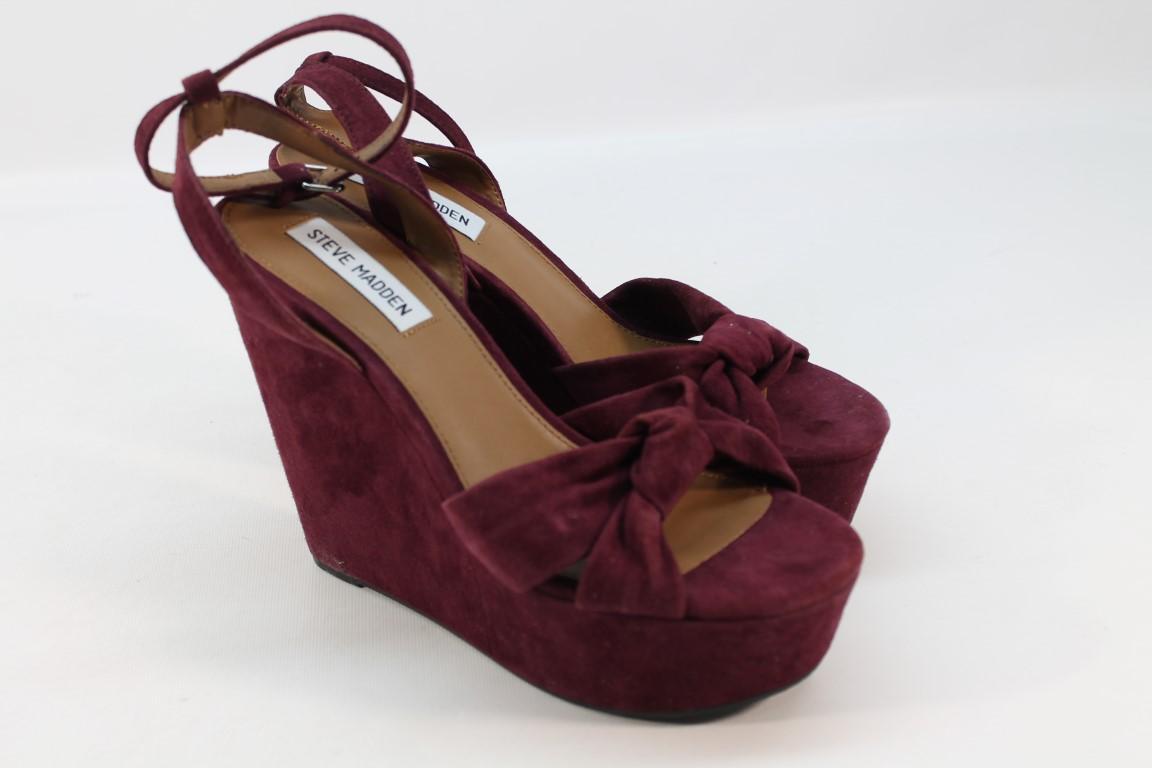 Steve Madden Womens Tylie Burgundy Wedge Sandal 9m Ebay